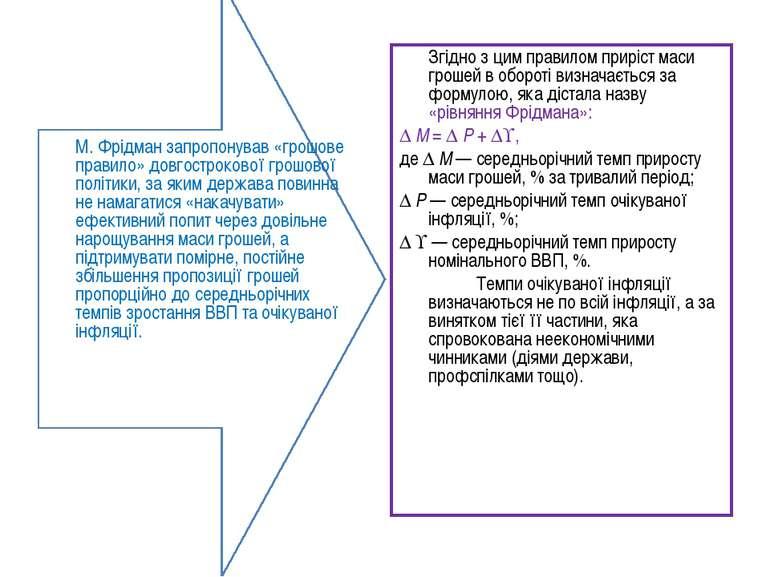М.Фрідман запропонував «грошове правило» довгострокової грошової політики, з...