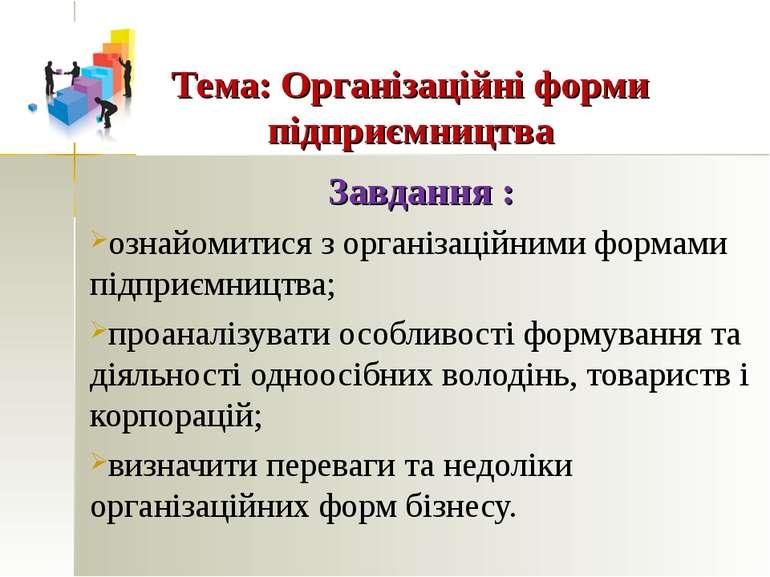 Тема: Організаційні форми підприємництва Завдання : ознайомитися з організаці...