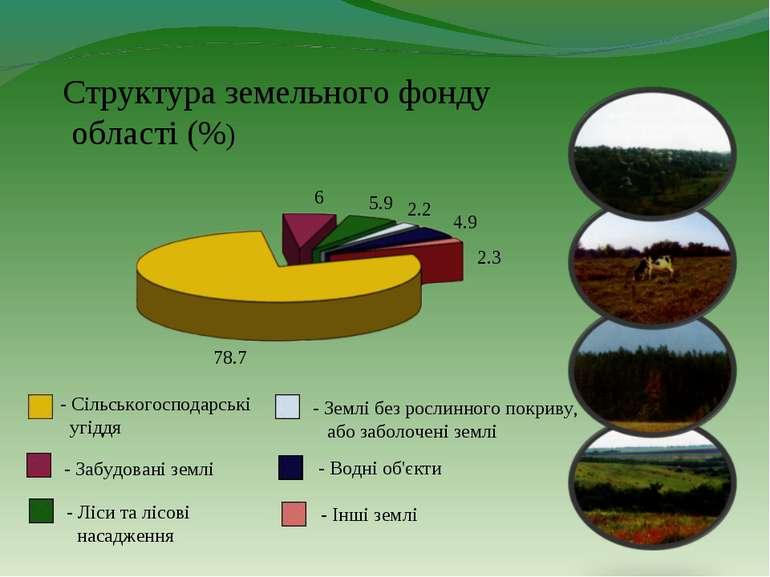 Структура земельного фонду області (%) 78.7 6 5.9 2.2 4.9 2.3 - Сільськогоспо...