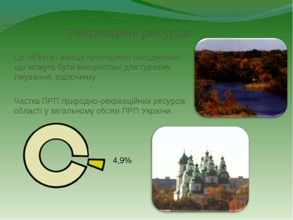Рекреаційні ресурси 4,9% Частка ПРП природно-рекреаційних ресурсів області у ...
