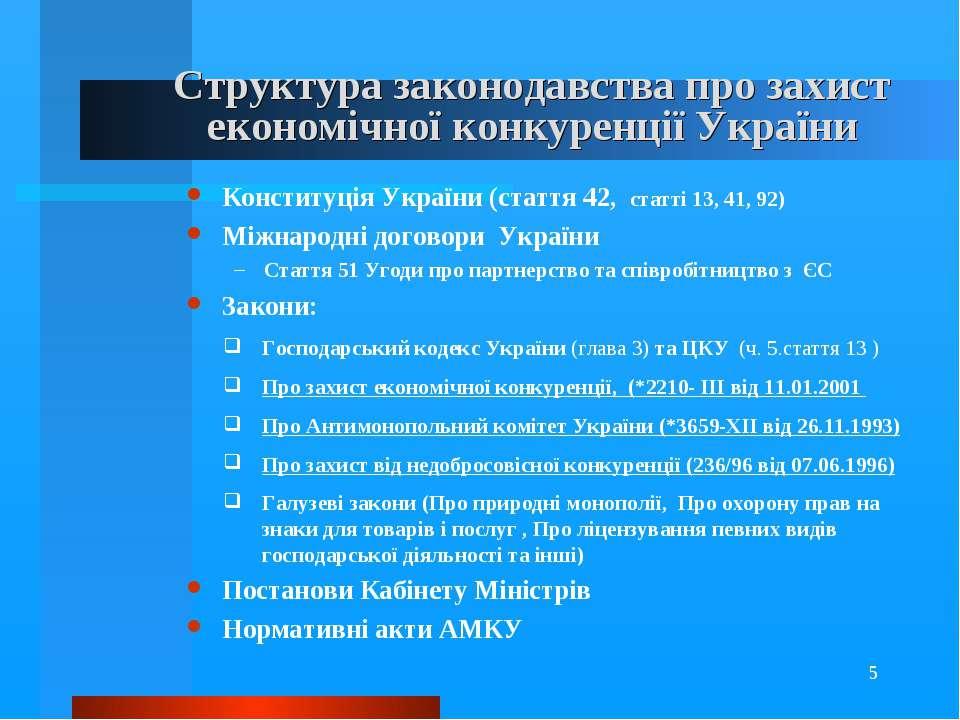 * Структура законодавства про захист економічної конкуренції України Конститу...