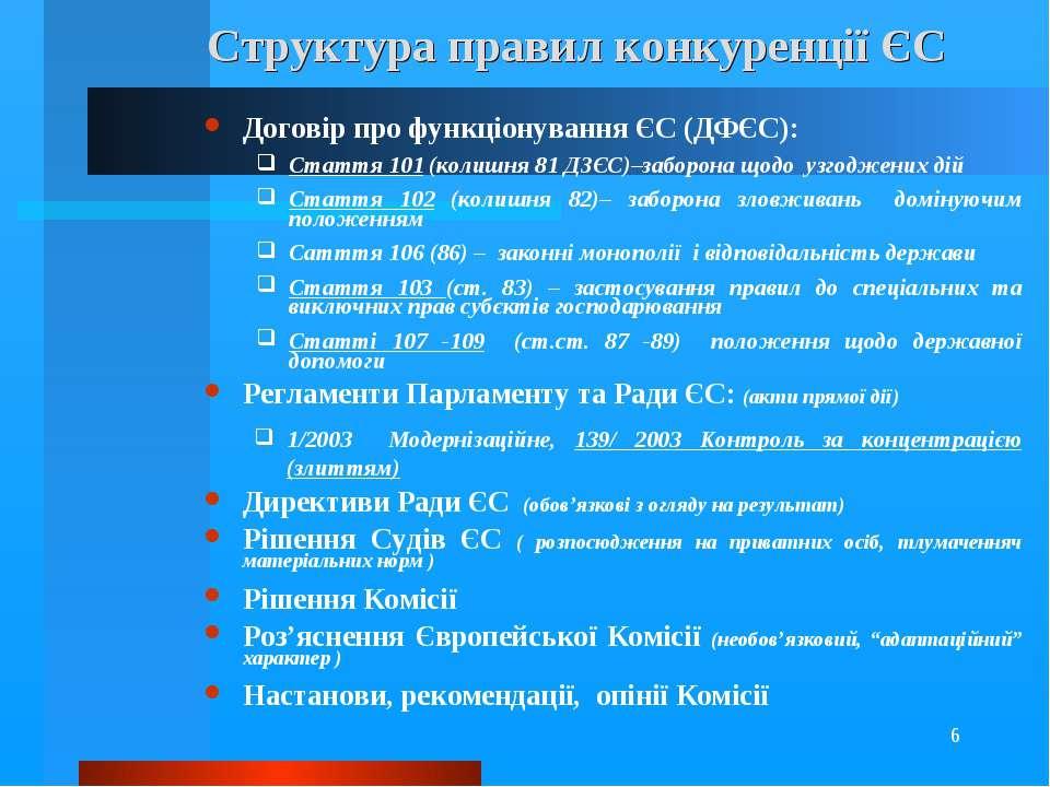 * Структура правил конкуренції ЄС Договір про функціонування ЄС (ДФЄС): Статт...