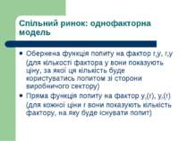 Спільний ринок: однофакторна модель Обернена функція попиту на фактор rHy, rР...
