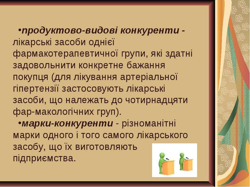 продуктово-видові конкуренти - лікарські засоби однієї фармакотерапевтичної г...