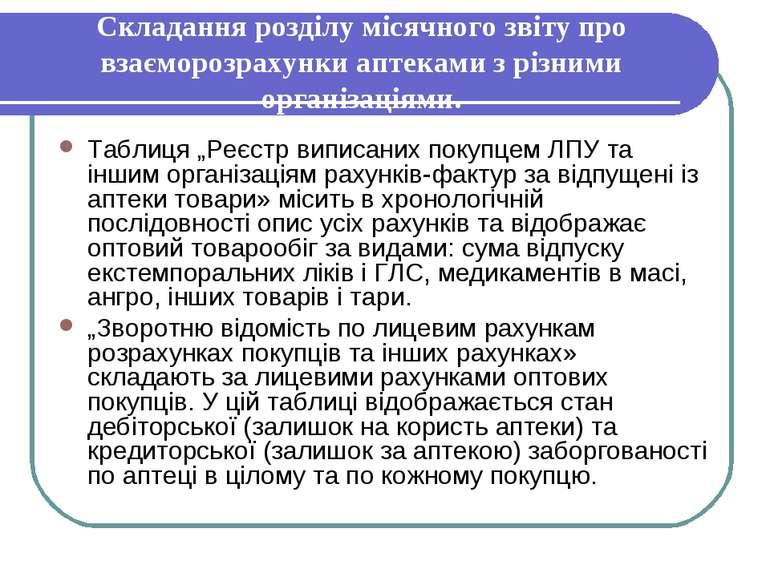 Складання розділу місячного звіту про взаєморозрахунки аптеками з різними орг...