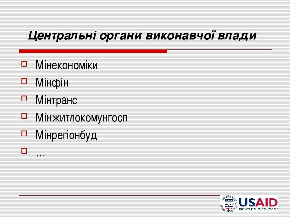 Центральні органи виконавчої влади Мінекономіки Мінфін Мінтранс Мінжитлокомун...