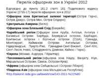 Перелік офшорних зон в Україні 2012 Відповідно до пункту 161.2 статті 161 Под...