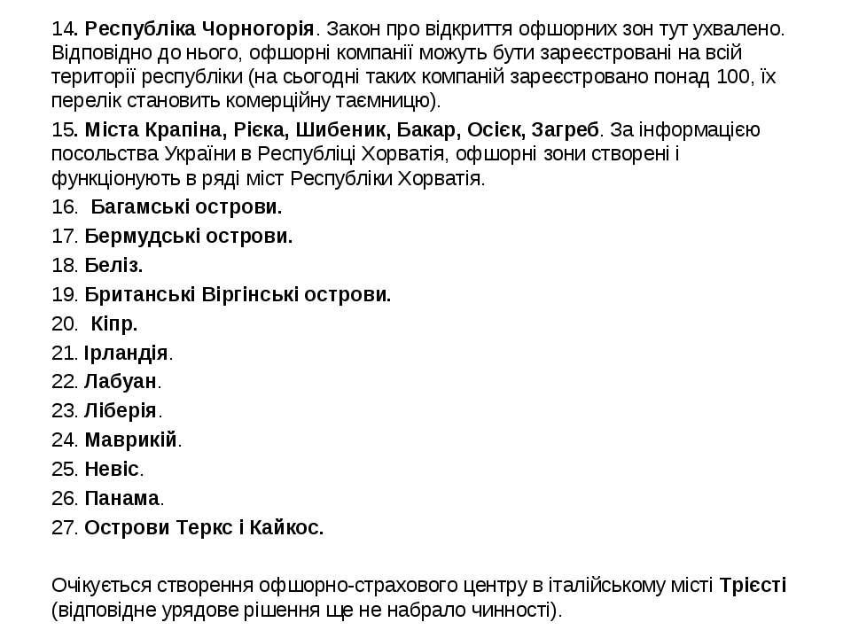 14. Республіка Чорногорія. Закон про відкриття офшорних зон тут ухвалено. Від...