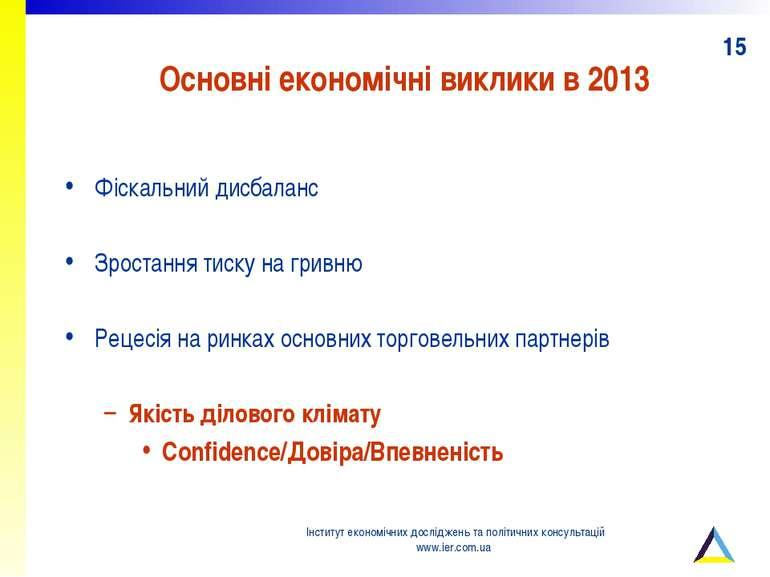 Основні економічні виклики в 2013 Фіскальний дисбаланс Зростання тиску на гри...