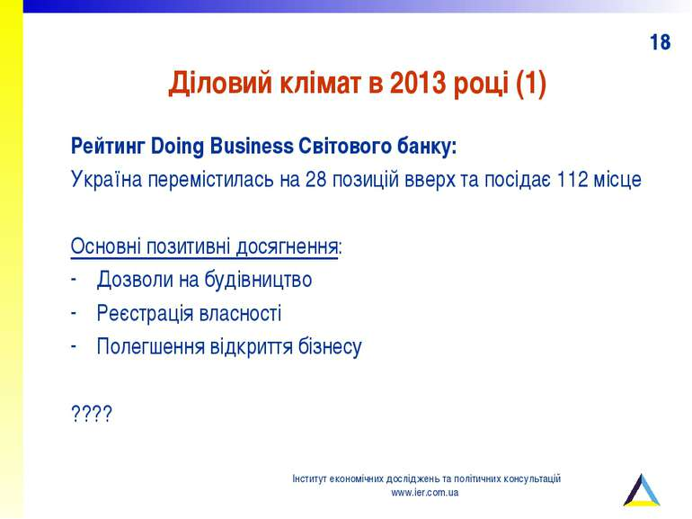 Діловий клімат в 2013 році (1) Рейтинг Doing Business Світового банку: Україн...