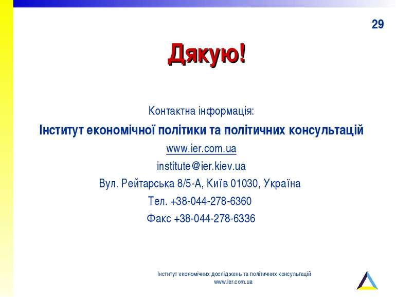Дякую! Контактна інформація: Інститут економічної політики та політичних конс...