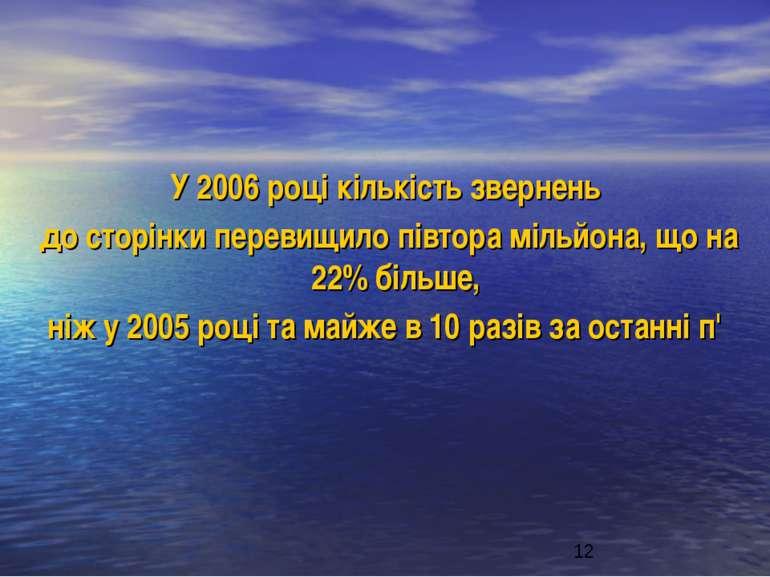 У 2006 році кількість звернень до сторінки перевищило півтора мільйона, що на...
