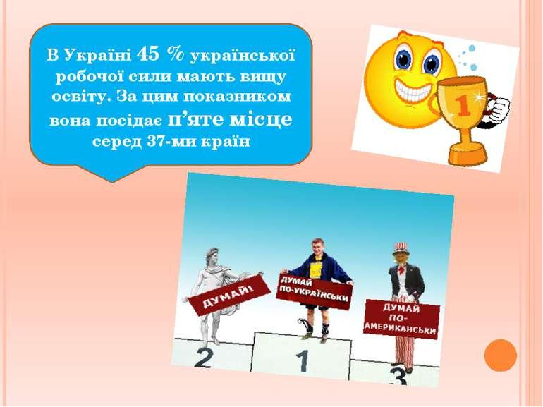 В Україні 45 % української робочої сили мають вищу освіту. За цим показником ...