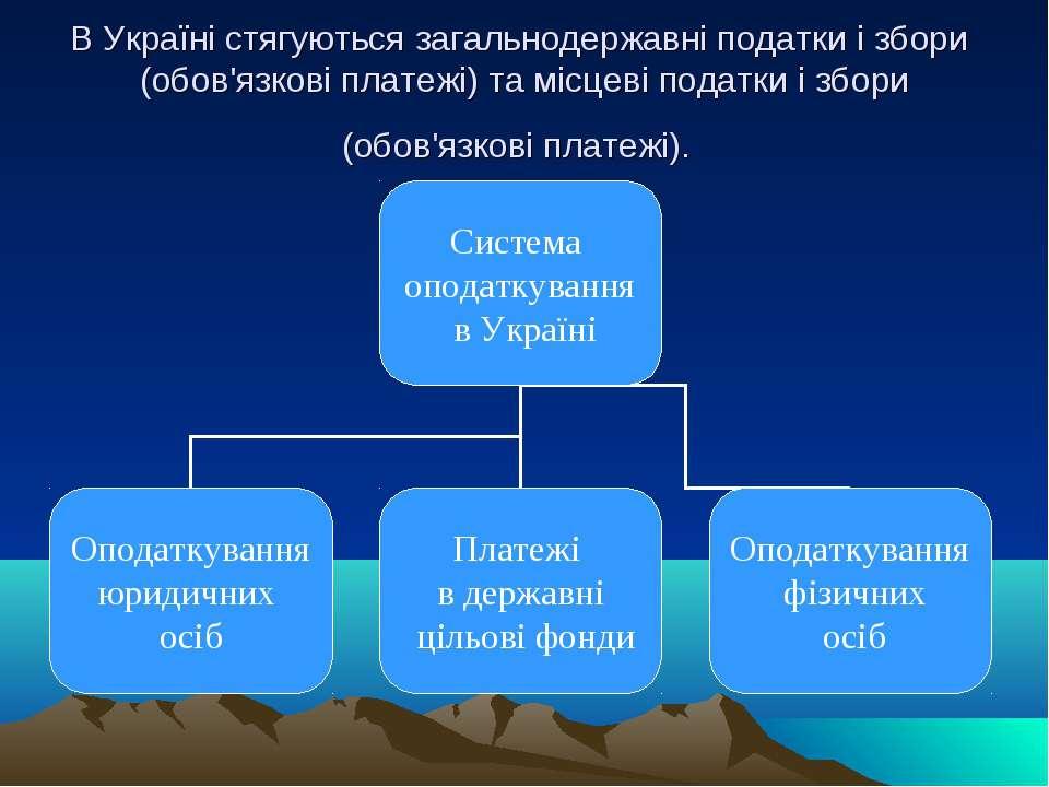 В Україні стягуються загальнодержавні податки і збори (обов'язкові платежі) т...