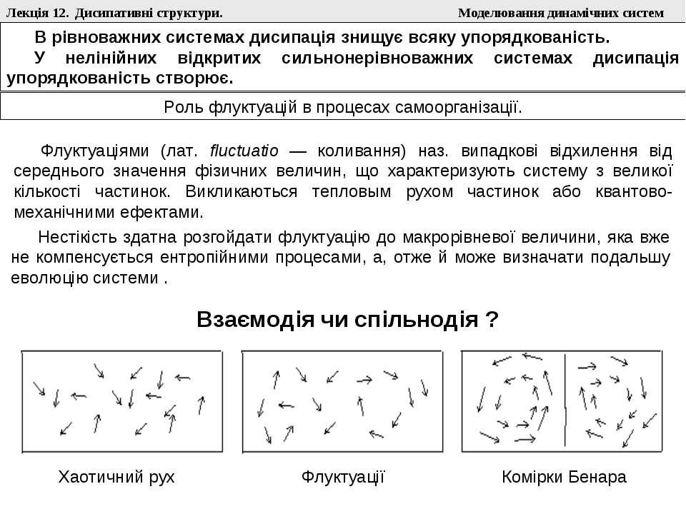 Лекція 12. Дисипативні структури. Моделювання динамічних систем Роль флуктуац...