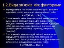 1.2.Види зв'язків між факторами Функціональні - кожному значенню однієї велич...