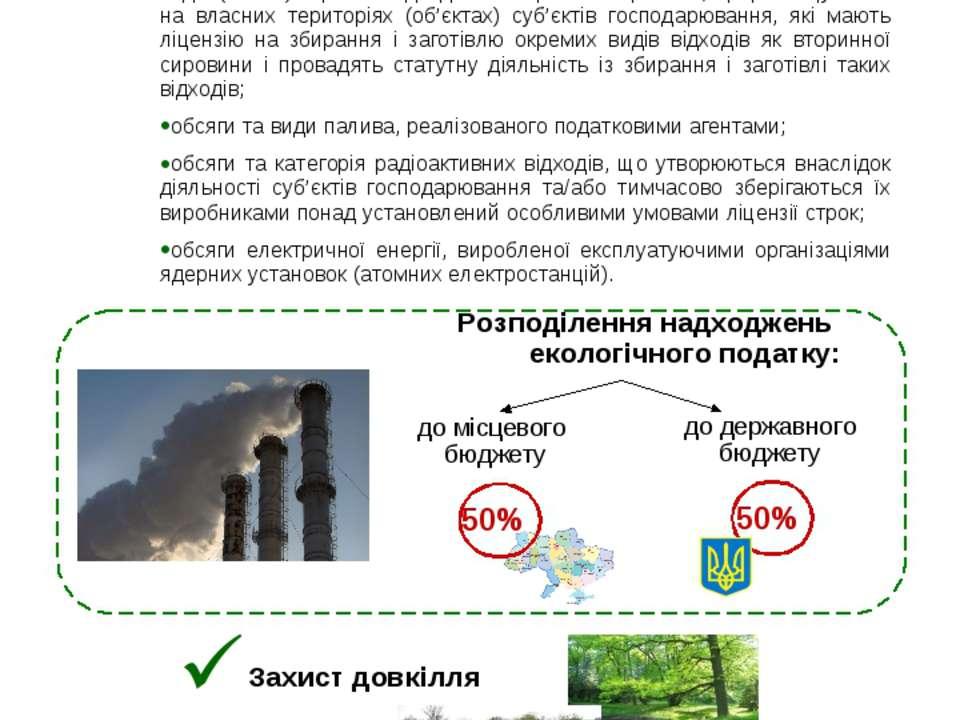 Розподілення надходжень екологічного податку: ЕКОЛОГІЧНИЙ ПОДАТОК до державно...