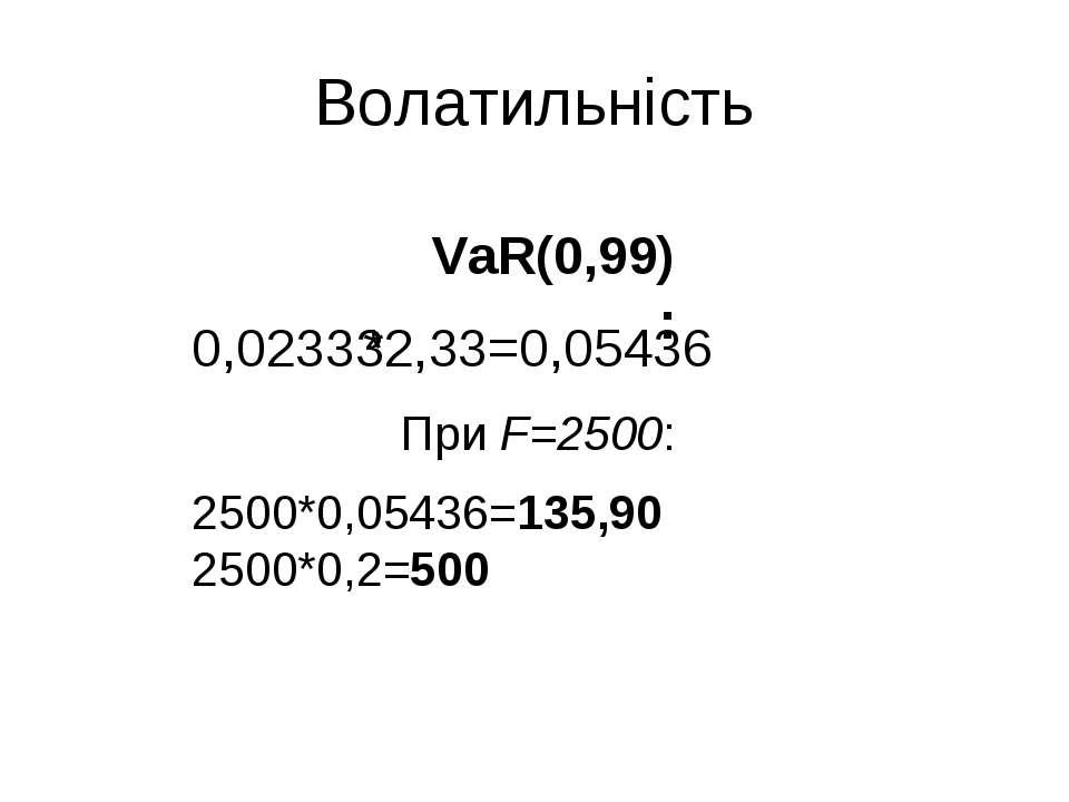 Волатильність 0,02333 VaR(0,99): *2,33=0,05436 При F=2500: 2500*0,05436=135,9...