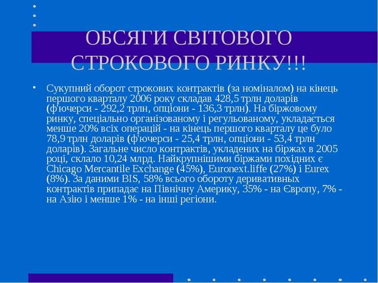 ОБСЯГИ СВІТОВОГО СТРОКОВОГО РИНКУ!!! Сукупний оборот строкових контрактів (за...