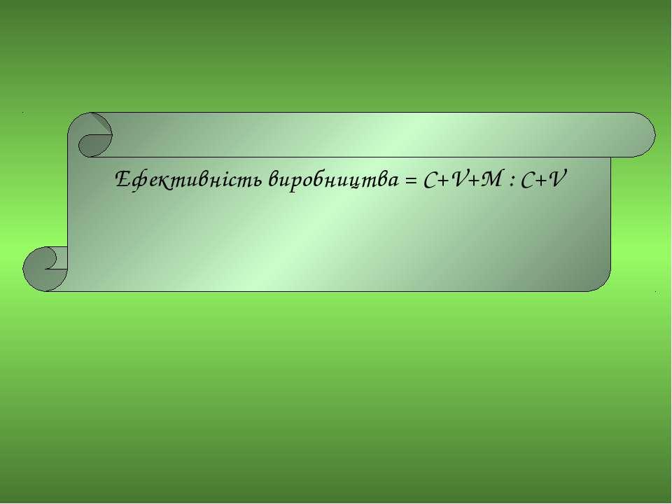 Ефективність виробництва = C+V+M : C+V