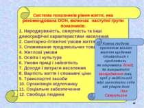 * Система показників рівня життя, яка рекомендована ООН, включає наступні гру...