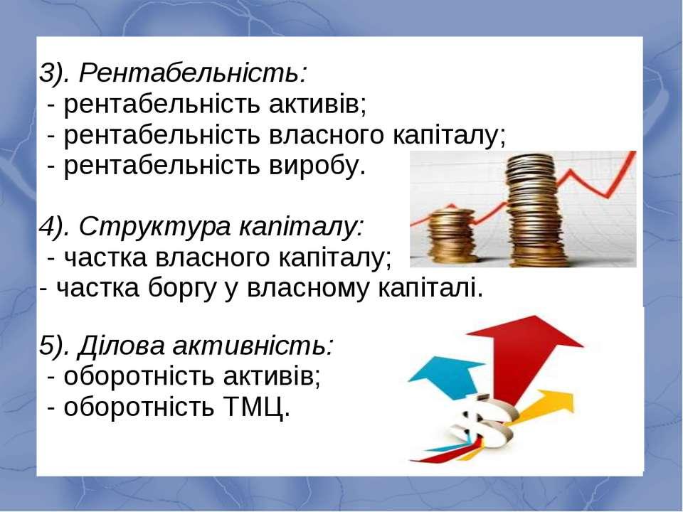 3). Рентабельність: - рентабельність активів; - рентабельність власного капіт...