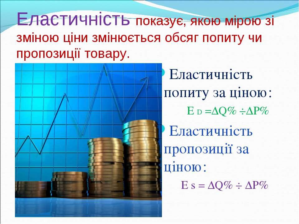 Еластичність показує, якою мірою зі зміною ціни змінюється обсяг попиту чи пр...