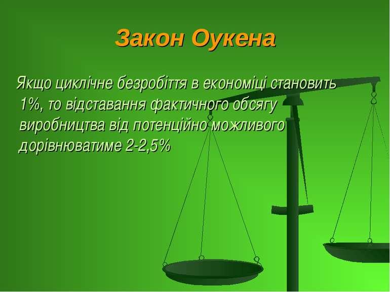 Закон Оукена Якщо циклічне безробіття в економіці становить 1%, то відставанн...
