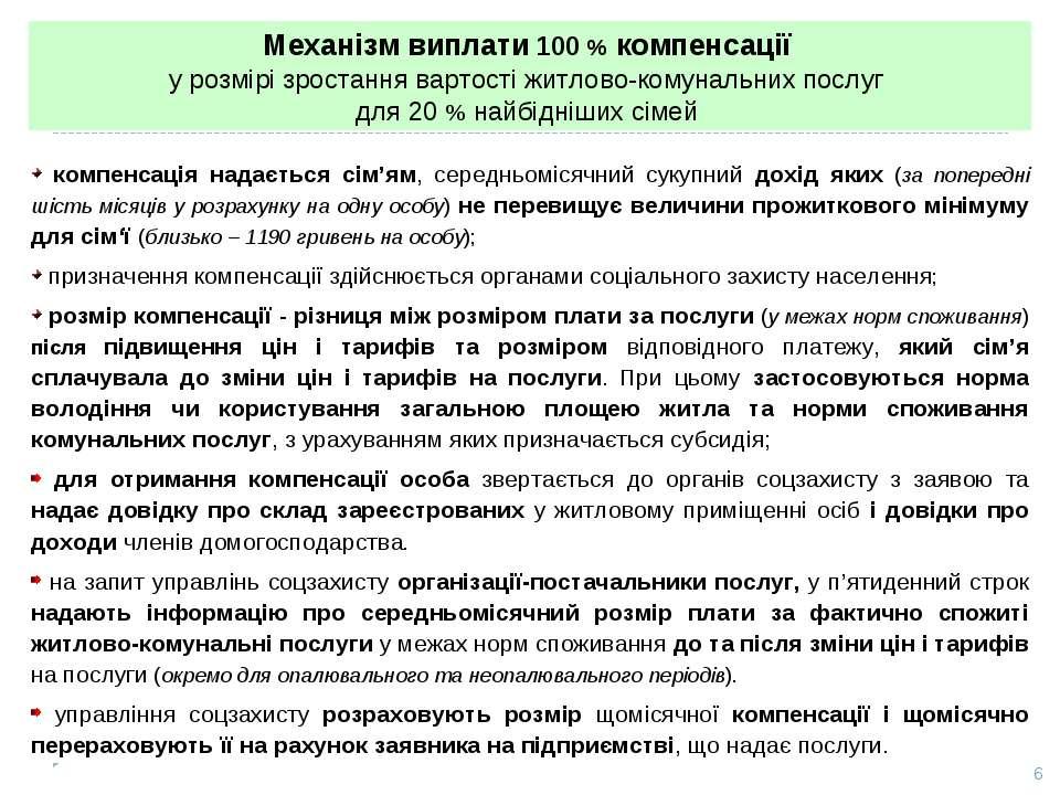 Механізм виплати 100 % компенсації у розмірі зростання вартості житлово-комун...