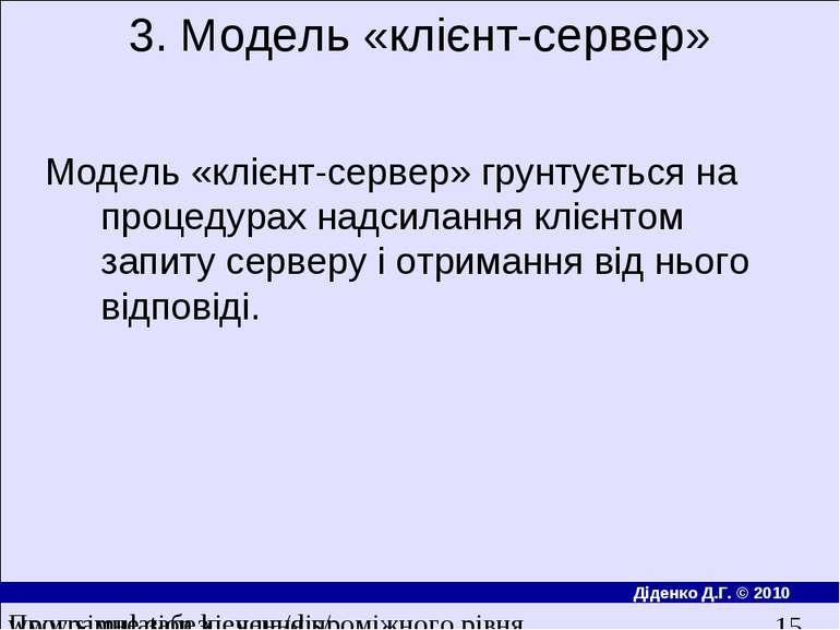 3. Модель «клiєнт-сервер» Модель «клiєнт-сервер» грунтується на процедурах на...