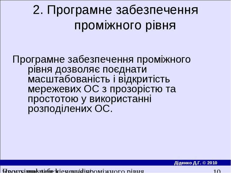 2. Програмне забезпечення проміжного рівня Програмне забезпечення промiжного ...