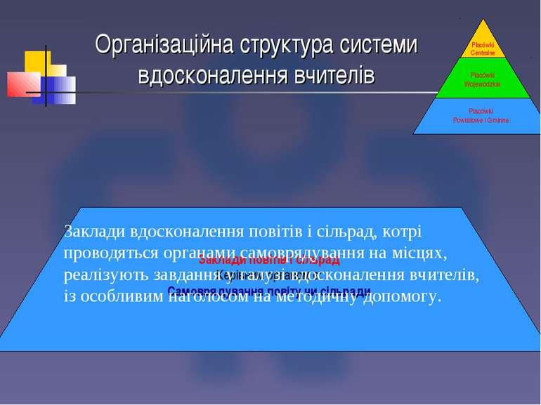Організаційна структура системи вдосконалення вчителів Placówki Centralne Зак...