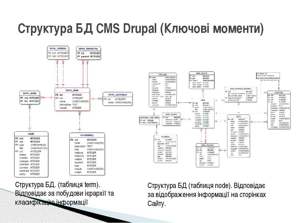 Структура БД CMS Drupal (Ключові моменти) Структура БД. (таблиця term). Відпо...