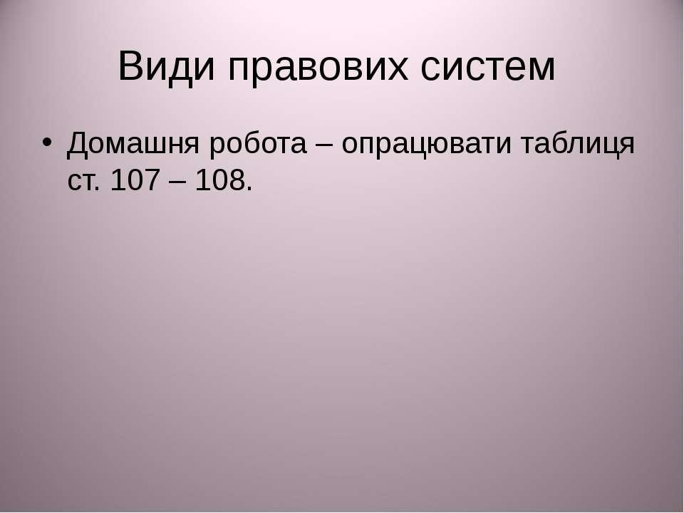 Види правових систем Домашня робота – опрацювати таблиця ст. 107 – 108.