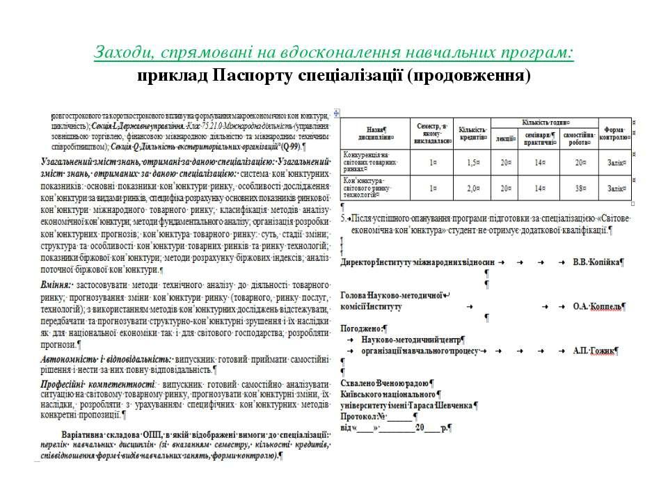 Заходи, спрямовані на вдосконалення навчальних програм: приклад Паспорту спец...