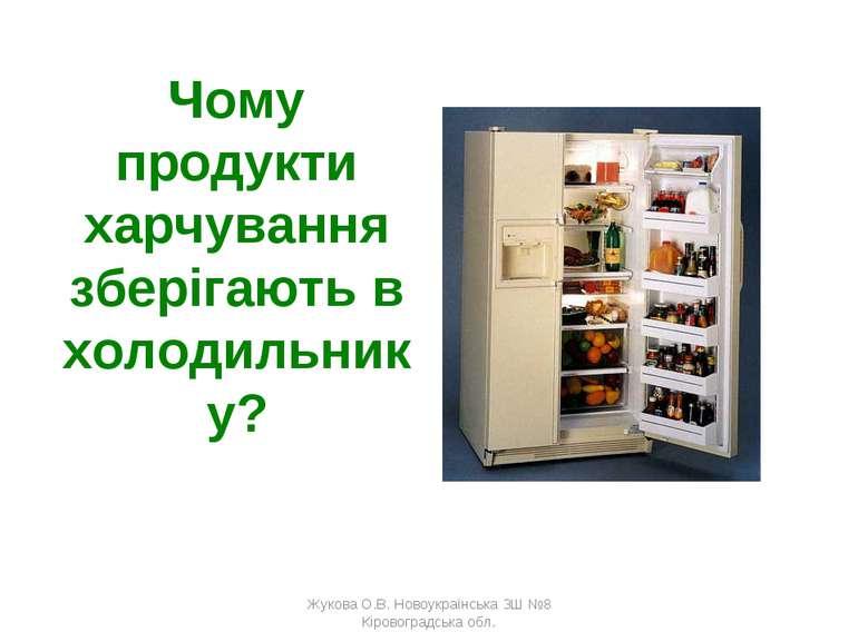 Чому продукти харчування зберігають в холодильнику? Жукова О.В. Новоукраїнськ...