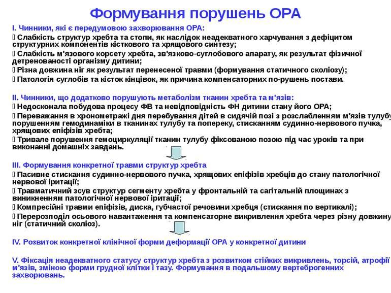 Формування порушень ОРА I. Чинники, які є передумовою захворювання ОРА: Cлабк...