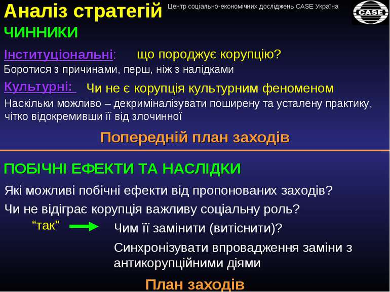 Аналіз стратегій ЧИННИКИ Інституціональні: Культурні: Чи не є корупція культу...