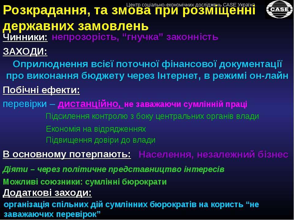 Розкрадання, та змова при розміщенні державних замовлень Чинники: ЗАХОДИ: Опр...