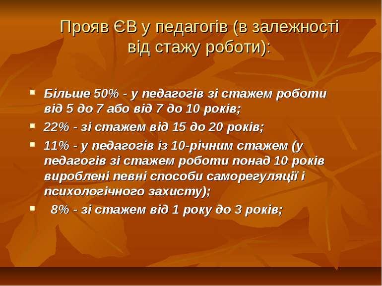 Прояв ЄВ у педагогів (в залежності від стажу роботи): Більше 50% - у педагогі...