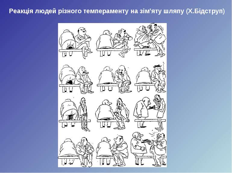 Реакція людей різного темпераменту на зім'яту шляпу (Х.Бідструп)