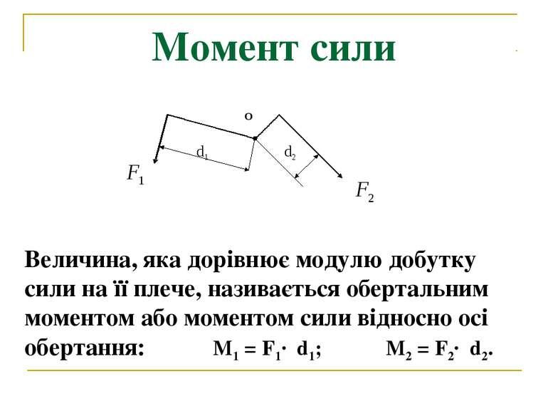 Момент сили Величина, яка дорівнює модулю добутку сили на її плече, називаєть...