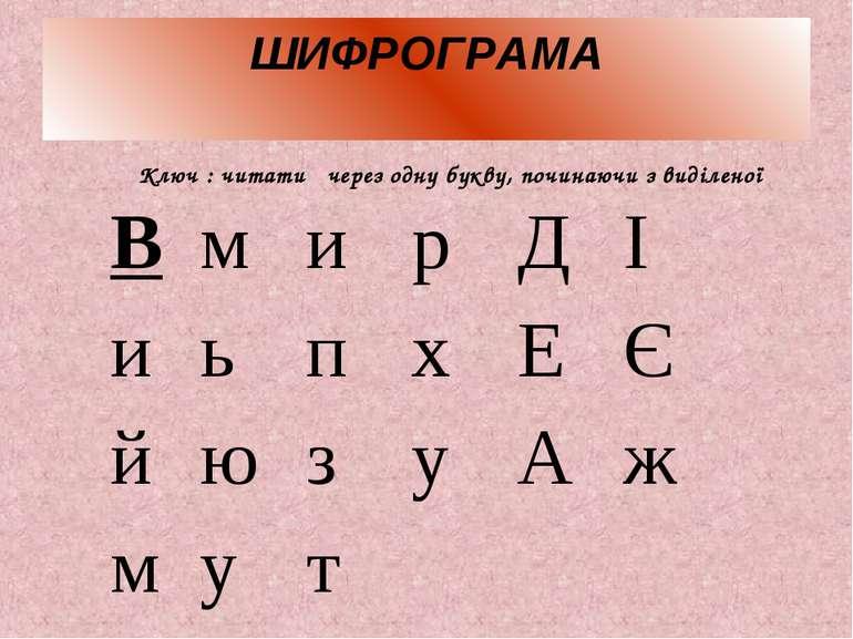 ШИФРОГРАМА Ключ : читати через одну букву, починаючи з виділеної В м и р Д І ...