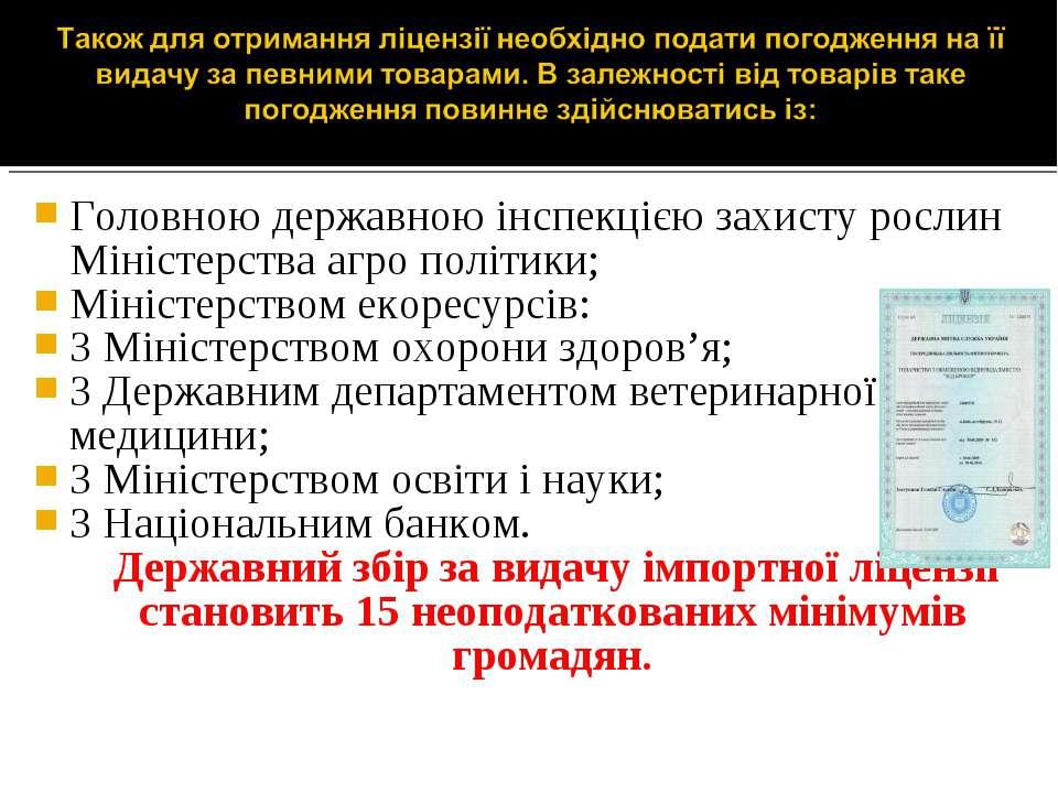 Головною державною інспекцією захисту рослин Міністерства агро політики; Міні...