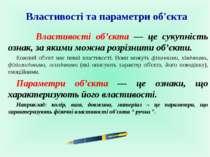 Властивості та параметри об'єкта Властивості об'єкта — це сукупність ознак, з...