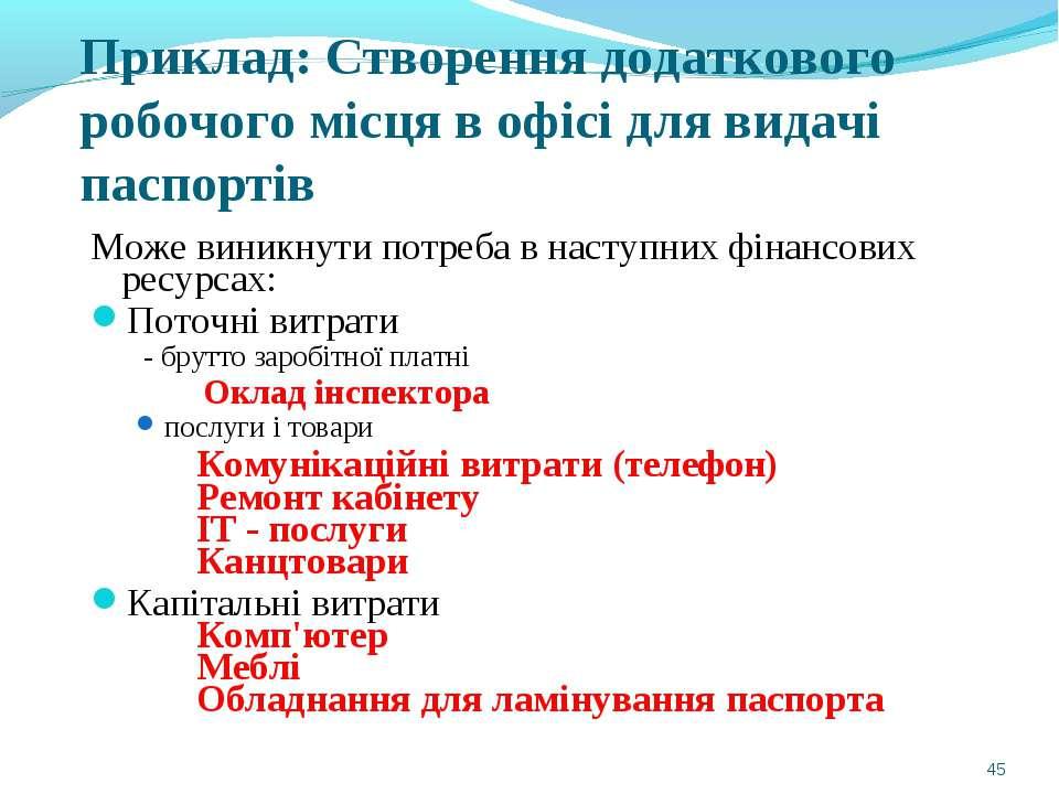Приклад: Створення додаткового робочого місця в офісі для видачі паспортів Мо...