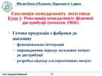 Еволюція менеджменту логістики Етап 1: Революція менеджменту фізичної дистриб...