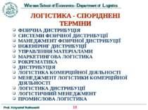 ЛОГІСТИКА - СПОРІДНЕНІ ТЕРМІНИ ФІЗИЧНА ДИСТРИБУЦІЯ СИСТЕМИ ФІЗИЧНОЇ ДИСТРИБУЦ...