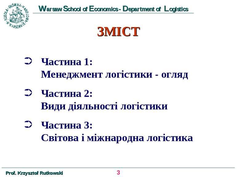 ЗМІСТ Частина 1: Менеджмент логістики - огляд Частина 2: Види діяльності логі...