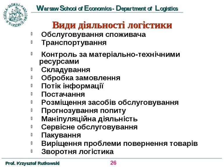 Види діяльності логістики Обслуговування споживача Транспортування Контроль з...